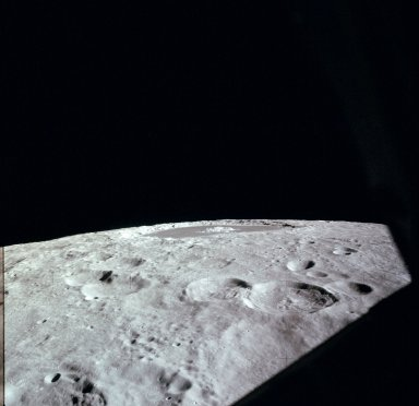 Apollo 12 Mission image - High oblique view of Craters 285,287 and Tsiolkovski