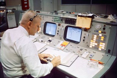 Flight Director Eugene Kranz at console during the Gemini 9A mission