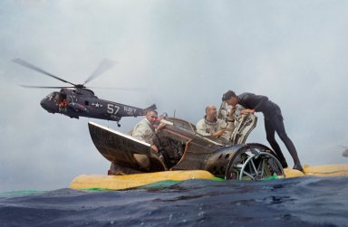 ASTRONAUT CERNAN, EUGENE A. - RECOVERY GT-9AS/C IN WATER W/HATCHES OPEN