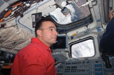Archambault at the aft FD on STS-117 Space Shuttle Atlantis
