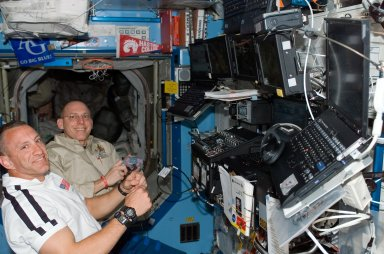 View of Hobaugh and Anderson during STS-118/Expedition 15 Joint Operations