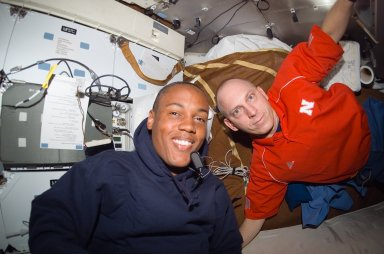 View of Drew and Anderson posing together in the MDDK of Endeavour