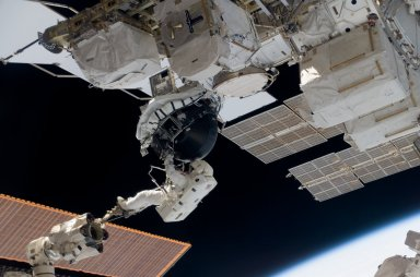 View of MS Williams transporting the new CMG during EVA 2