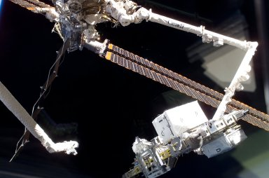 View of the ESP 3 as its being transferred to the P3 Truss for Installation