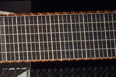 View of a P6 Solar Array taken from the orbiter after undocking from the ISS during STS-121