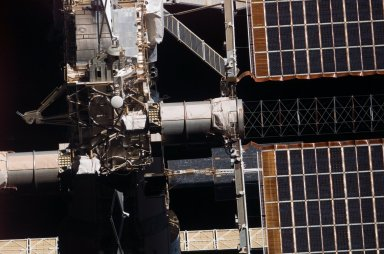 View of the P6 Solar Array and Truss taken from the orbiter after undocking from the ISS during STS-121