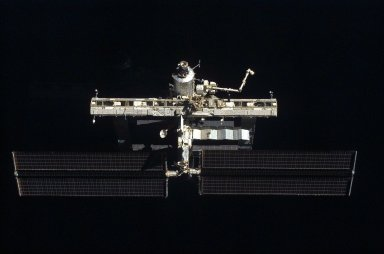 Distant view of the ISS from the orbiter during separation on STS-121