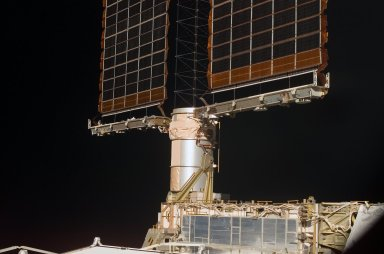 View of a P6 Truss SAW mast cannister taken during an ISS survey on STS-121 / Expedition 13 joint operations