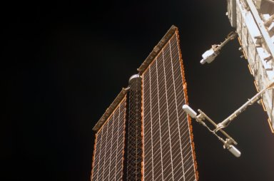 View of a P6 Truss SAW taken during an ISS survey on STS-121 / Expedition 13 joint operations