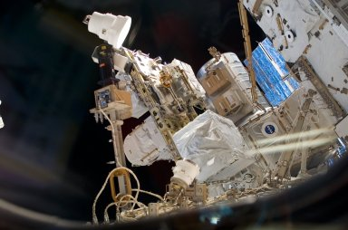 View of the ESP2 and Joint Airlock during STS-121 / Expedition 13 joint operations