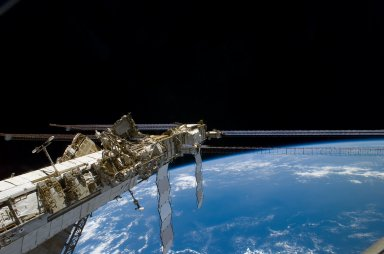 Port Truss and Solar Arrays during Expedition 16/STS-122 Joint Operations