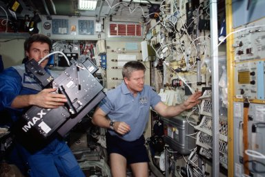 Krikalev with IMAX and Shepherd in the Service module