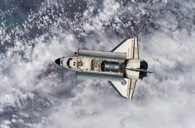 View of the STS-102 orbiter Discovery after undocking with the ISS