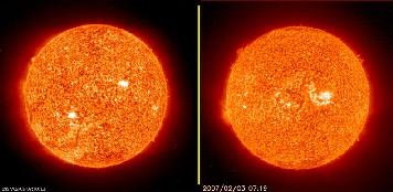 On 2007 February 8, the SOHO Extreme ultraviolet Imaging Telescope (EIT) became the first spaceborne solar imager to observe a complete solar cycle. EIT has now been observing for the mean length of a solar cycle, 11.1 years, since its first image was obtained on 1996 January 2. SOHO is the first solar observatory in space to observe a complete solar cycle. It has the unique opportunity of offering a retrospective reaching back over an entire solar cycle. So we can select and compare images and movies of the Sun almost exactly 10 years apart. We took a snapshot of the several weeks (January 15 - February 5, 2007) and pulled together frames from ten years ago (January 15 - February. 13, 1997). The Sun is fairly close to solar minimum (its lowest level of solar activity) for both of these periods, so one would expect both sequences to show a similar level of activity. In fact, it does. We see very few active regions and no major solar storms. It would appear that the 1997 frames are a little crisper with a bit more sharpness. Well, 11 years of staring at the Sun has probably taken a toll on the CCD imager. Still, what is most remarkable is that a single spacecraft has held up so well and produced such a long and valuable observation record, a record that scientists around the world are studying and analyzing every day.