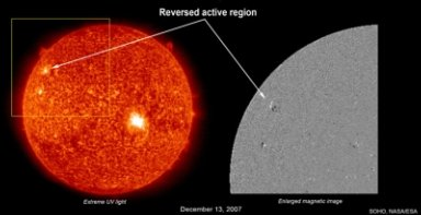 """SOHO has observed (Dec. 13, 2007) what may be the first indication of a """"reversed"""" magnetic polarity region when compared to the current solar cycle, something scientists consider to be a crucial indicator that the new sunspot cycle is about upon us. This so-called plage region did not have a strong enough magnetic field to form a sunspot, but scientists believe that it may nevertheless stand as an icon that the old cycle is ending and a new one, Cycle 24, is about to begin. Sunspots appear in groups with north and south polarities just like a magnet. In magnetic images of the Sun taken (by SOHO's MDI instrument) during the last solar cycle, sunspots in the northern hemisphere of the Sun have had white areas preceding the black; in this new spot, we can clearly see that black precedes white. (This orientation is reversed in the southern hemisphere.) Solar cycles (in which the general level of solar activity is measured by numbers of sunspots) last from 9.5 to 13.5 years and have been recorded since the 1700's. The video clip fades from an extreme ultraviolet image of the Sun to zoom in on a magnetic image of the active region to show the correlation between the two."""