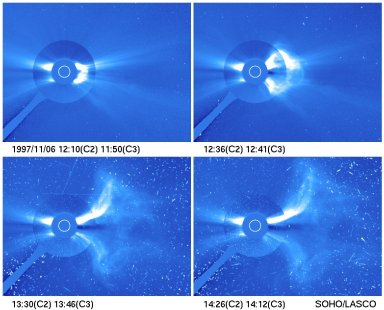 LASCO C2/C3 composite image series showing a CME cloud emerging from the Sun and an ensuing proton blast that struck the SOHO instrument on 5 November 1998. Protons accelerated to 10% the speed of light arrived at SOHO in about an hour, causing numerous bright points and streaks in the last two images.