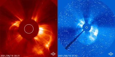 A coronal mass ejection (CME)on August 16, 2001, is captured by the LASCO C2 instrument as it first erupts (left). Just over an hour later in a wider view from LASCO C3 the CME is also accompanied by fast, high energy protons that have struck the SOHO spacecraft's detectors. This larger view encompasses 30 times the radius of the Sun.