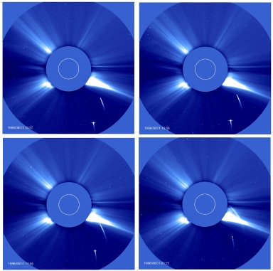Series of LASCO C3 images showing two comets approaching the Sun. The time period covers about 4 hours. They do not reappear on the other side.