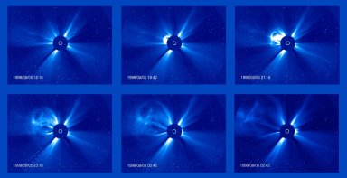 Progress of a Coronal Mass Ejection (CME) observed over an eight hour period on 5-6 August 1999 by LASCO C3. The dark disk blocks the Sun so that the LASCO instrument can observe the structures of the corona in visible light. The white circle represents the size and position of the Sun.