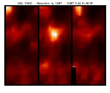 Before, during and after - a blinker event in O V (30,000 x 74,000 km). The three images are minutes apart in time.