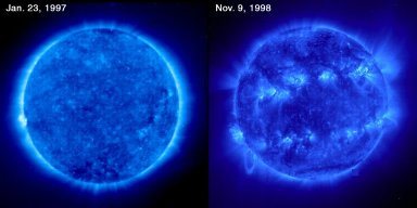 A comparison of two EIT images almost two years apart illustrates how the level of solar activity has increased significantly. The Sun attains its expected sunspot maximum in the year 2000. These images are captured using Fe IX-X 171 Å emission showing the solar corona at a temperature of about 1.3 million K. Many more sunspots, solar flares, and coronal mass ejections occur during the solar maximum. The numerous active regions and the number/size of magnetic loops in the recent image shows the increase.