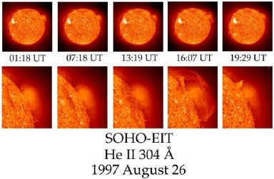 A time series of SOHO-EIT images showing the development of a huge, eruptive prominence on 1997 August 27. The images were obtained with EIT's unique, normal-incidence, multilayer-coated telescope in the resonance line of singly ionized helium (He II) at 304 Angstroms in the extreme ultraviolet. The material in the eruptive prominence is at temperatures of 60,000 - 80,000 K, much cooler than surrounding corona, which is typically at temperatures above 1 million K. By the fourth frame, the prominence is over 350,000 km (216,000 miles) across, large enough to span 28 earths. Credit --- The SOHO-EIT Consortium: SOHO is an ESA/NASA project of international cooperation.