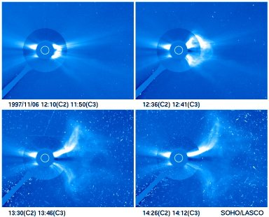 Development of a large coronal mass ejection (CME). The CME originated from the site of a X-9.4 flare, approximately 30 degrees off the west limb of the Sun on November 6, 1997. The four photographs are composite images as seen from the C2 and the C3 coronagraph of the LASCO experiment onboard SOHO. (Field of view, C2: 6 solar radii; C3: 32 solar radii.) At 12:10 UT the magnetic flux rope CME emerges from behind the C2 occulter with a velocity of 1500 km/s. At 12:41 UT the CME has expanded into the C3 field of view. At 13:46 UT the middle part of the CME has become a large, diffuse cloud with a dark hole in the center. The two legs, which are still connected to the solar surface have been deflected away to the north and south. At the west limb the dark structure in the equatorial plane is caused by the blow-out of material out of the equatorial streamer. High energetic (E>100 MeV) protons accelerated at the site of the flare arrive at 13:46 UT at the location of SOHO and cause numerous bright points and streaks in the images. Courtesy SOHO/LASCO consortium.