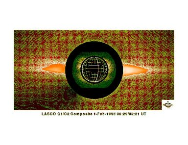 Composite of a LASCO C1 and LASCO C2 image, taken on 1 February 1996. The inner part shows the corona in the light of the green forbidden coronal line of Fe XIV, the outer (orange) part the streamer belt in the fieldofview of the LASCO C2 coronagraph.