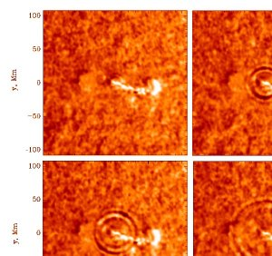 """SOLAR FLARE LEAVES SUN QUAKING Scientists have shown for the first time that solar flares produce seismic waves in the Sun's interior that closely resemble those created by earthquakes on our planet. The researchers observed a flare-generated solar quake that contained about 40,000 times the energy released in the great earthquake that devastated San Francisco in 1906. The amount of energy released was enough to power the United States for 20 years at its current level of consumption, and was equivalent to an 11.3 magnitude earthquake, scientists calculated. Dr. Alexander G. Kosovichev, a senior research scientist from Stanford University, and Dr. Valentina V. Zharkova from Glasgow (United Kingdom) University found the tell-tale seismic signature in data on the Sun's surface collected by the Michelson Doppler Imager onboard the Solar and Heliospheric Observatory (SOHO) spacecraft immediately following a moderate-sized flare on July 9, 1996. """"Although the flare was a moderate one, it still released an immense amount of energy,"""" said Dr. Craig Deforest, a researcher with the SOHO project. """"The energy released is equal to completely covering the Earth's continents with a yard of dynamite and detonating it all at once."""" SOHO is a joint project of the European Space Agency and NASA. The finding is reported in the May 28 issue of the journal Nature, and is the subject of a press conference at the spring meeting of the American Geophysical Union in Boston, Mass., May 27. The solar quake that the science team recorded looks much like ripples spreading from a rock dropped into a pool of water. But over the course of an hour, the solar waves traveled for a distance equal to 10 Earth diameters before fading into the fiery background of the Sun's photosphere. Unlike water ripples that travel outward at a constant velocity, the solar waves accelerated from an initial speed of 22,000 miles per hour to a maximum of 250,000 miles per hour before disappearing. """"People have looked fo"""