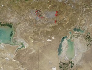 Fires between the Caspian and Aral Seas