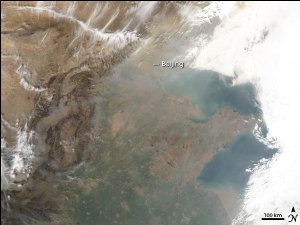 Dust and Haze Blow Across China