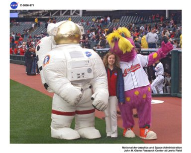Vision for Space Exploration trailer at gateway Plaza, Cleveland, Ohio and an Astronaut throwing in the first pitch for the Cleveland Indians game