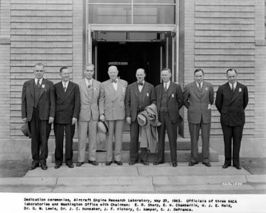 DEDICATION CEREMONIES OF THE AIRCRAFT ENGINE RESEARCH LABORATORY (AERL) IN CLEVELAND, OHIO (LATER NAMED LEWIS RESEARCH CENTER). DIGNITARIES INCLUDE: DR. ORVILLE AND THEODORE WRIGHT