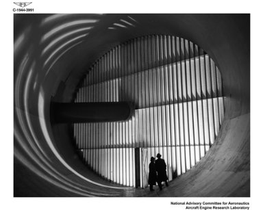 ALTITUDE WIND TUNNEL (AWT) PUBLICITY WITH MODEL INTERIOR THROAT SECTION