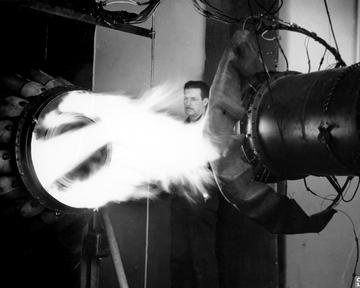 STARTING TEST OF J-33 JET ENGINE WITH TAIL CONE REMOVED TO STUDY FLAME PROPAGATION OF IGNITION AT THE LEWIS FLIGHT PROPULSION LABORATORY LFPL OF THE NATIONAL ADVISORY COMMITTEE FOR AERONAUTICS NACA CLEVELAND OHIO