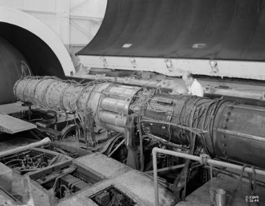 TG-190 ENGINE WITH REPUBLIC AFTERBURNER INSTALLED IN THE ALTITUDE WIND TUNNEL AWT