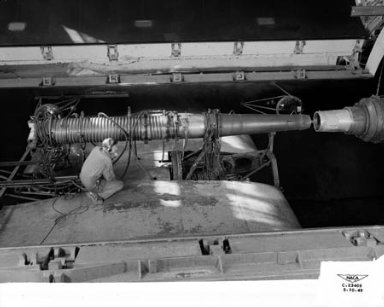 16 INCH RAM JET - NACA VARIABLE COMPONENT 16 INCH RAM JET INSTALLED IN THE ALTITUDE WIND TUNNEL AWT FOR STUDY OF INLET SHOCKS - FREE JET AIR MAKES POSSIBLE THE SUPERSONIC STUDY IN THE SUBSONIC TUNNEL