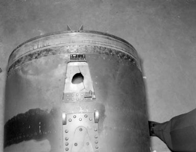 BOMARC ENGINE IN CELL 1 OF THE PROPULSION SYSTEMS LABORATORY PSL SHOWING ISENTROPIC SPIKE AND STATION 82 FAILURE AFTER RUN 65