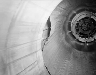 DAMAGE TO COMBUSTOR LINER OF 48 INCH NAVAHO RAM JET ENGINE IN TANK 2 OF THE PROPULSION SYSTEMS LABORATORY PSL