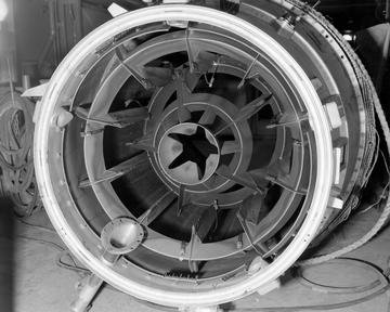FLIGHT ENGINE NAVAHO 48 INCH RAM JET IN TANK 2 PROPULSION SCIENCES LABORATORY PSL TO SHOW INLET - OUTLET - AND INTERIOR CONDITION