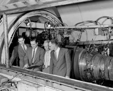 ALUMNI FROM SOUTH DAKOTA SCHOOL OF MINES AND TECHNOLOGY WORKING AT LEWIS FLIGHT PROPULSION LABORATORY LFPL - LEFT TO RIGHT - CHARLES GRESSLIN - LESTER CORRINGTON - BERTRAM A MULCAHY - FRANZ L LAGERWELL