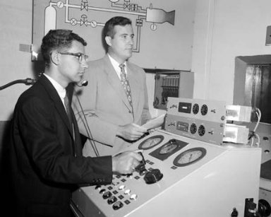 CHARLES E FEILER AND WAYNE MORSEFIELD IN THE CONTROL ROOM