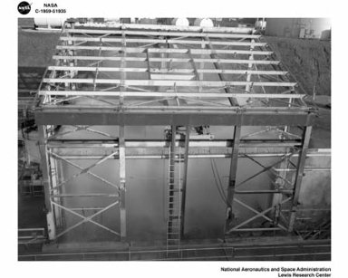 ROCKET ENGINE TEST FACILITY RETF SOUTH 40 AREA TEST CELL WATER DELUGE IN OPERATION