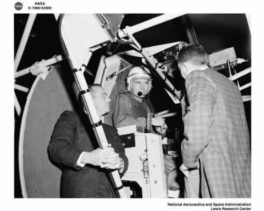 PROJECT MERCURY - ASTRONAUTS MALCOLM SCOTT CARPENTER AND DONALD K DEKE SLAYTON VISIT TO NASA LEWIS RESEARCH CENTER TO TEST GIMBALING RIG IN THE ALTITUDE WIND TUNNEL AWT