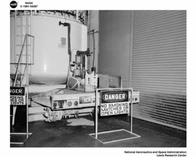 ENGINE STAND AND CELL DAMAGE AT ROCKET ENGINE TEST FACILITY RETF AT THE SOUTH 40 AREA OF NASA LEWIS RESEARCH CENTER
