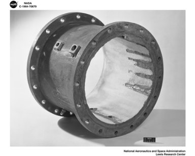 DAMAGED INSIDE OF SPOOL PIECE NO. 113 FOR SOUTH 40 AREA OF NASA LEWIS RESEARCH CENTER