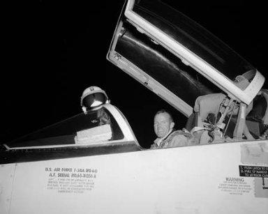 ASTRONAUT GORDON COOPER VISITING NASA LEWIS RESEARCH CENTER
