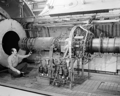 J-85 ENGINE IN NO. 2 TEST CELL AT THE PROPULSION SYSTEMS LABORATORY PSL