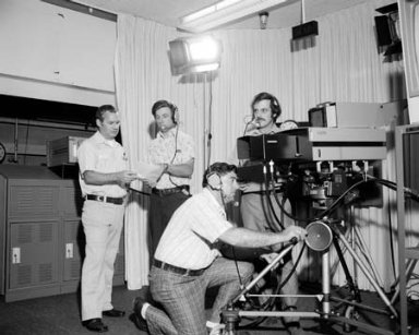 PERSONNEL WITH NASA LEWIS RESEARCH CENTER LERC COLOR TELEVISION TRANSMISSION TO BARROW ALASKA VIA THE COMMUNICATION TECHNOLOGY SATELLITE CTS