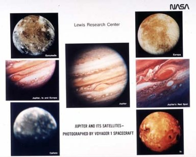 PLANET JUPITER AND ITS SATELLITES PHOTOGRAPHED BY THE VOYAGER SPACECRAFT